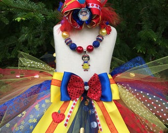 a4d41eb3e54 Fancy gold red royal blue yellow Baby Girl Snow White Princess inspired  Tutu skirt set cake smash
