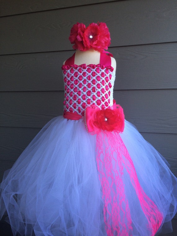 0b629d6510 White and hot pink flower girl tutu dress pageant fancy dress