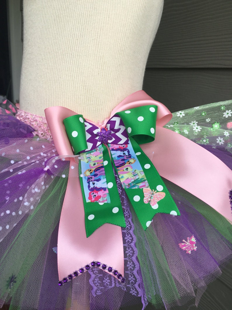 0-5T /& Headband or bow any other colors or theme? It could be modify My little Ponny inspired theme Birthday Tutu Skirt pink green purple