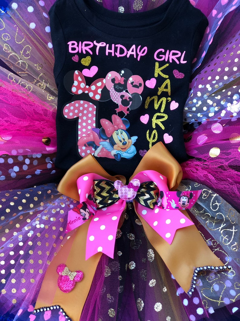 Costume Baby Girl Minnie Mouse inspired Tutu gold Black hot pink iron on 1st 2nd 3rd.. birthday cake smash photo shoot customized name.