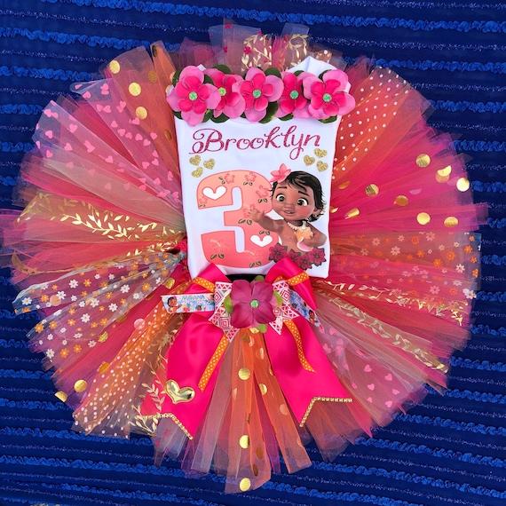 Costumized birthday cake smash photo shoot Baby Hawaiian Girl MOANA TODDLER inspired Tutu gold orange light pink aqua iron on 1st 2nd.