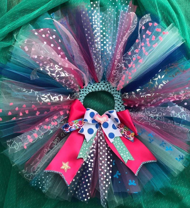 Costumized birthday cake smash photo shoot Baby Girl BABY SHARK pink inspired Tutu silver blue pink aqua iron on 1st 2nd.