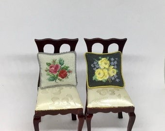 Miniature dollhouse cushion with petit point embroidered roses on silk gauze. 1:12 scale