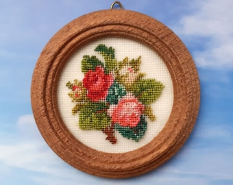 Miniature round picture for dollhouse with antique bouquet embroidered at petit point on silk gauze