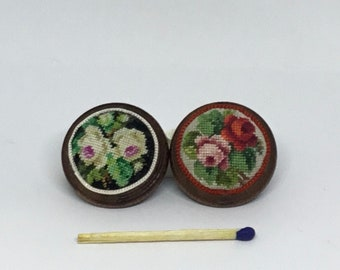 Miniature footrest for dollhouse, with small-point embroidered roses on silk gauze-