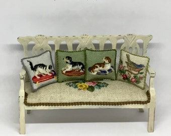 Miniature dollhouse pillow with Victorian embroidery, petit point on silk gauze. Scale 1:12