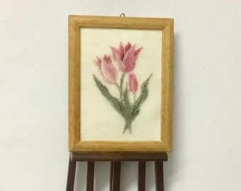 """Miniature picture for dollhouse with tulip """"China pink"""" embroidered on silk gauze."""