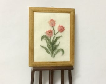 """Miniature dollhouse square with tulip """"Apricot beauty"""" embroidered on silk gauze."""