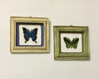 Miniature dollhouse square, with butterfly embroidered on silk gauze.