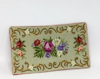Miniature dollhouse rug, with antique design, embroidered at petit point on silk gauze.