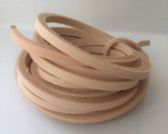 170cm long Natural Veg Tanned Leather 4 mm thick Lace Flat Cord Strip Strap various width 3-22mm