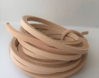 150 cm long 3,4,5,6,7,8,9 mm wide Natural Veg Tanned Leather Lace Flat Cord Strip 4 mm thick