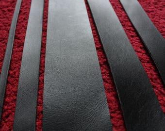 200 cm long Black Veg Tanned Leather Strap Strip Belt Blank Various Width 2.5 mm thick