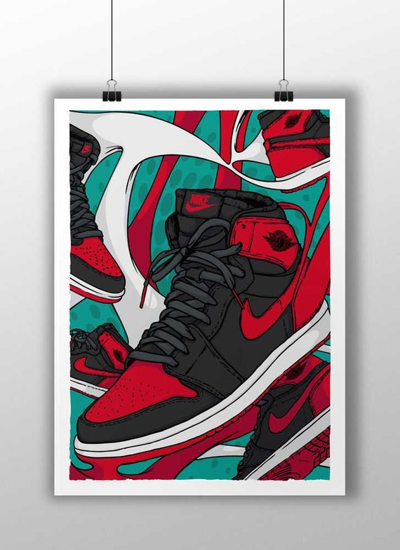 wholesale price latest discount another chance Air Jordan 1 Retro High OG Banned Fan Art
