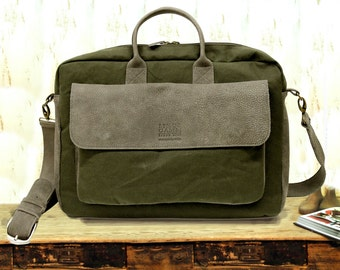 SALE Men s Leather messenger bag Leather   waxed canvas  79421084568c3