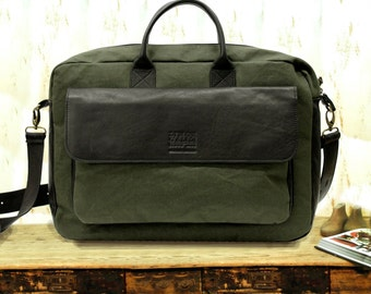 e34636a7658a Canvas and Leather messenger bag men
