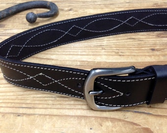 Sale!!! Black Leather Belt, Black Man's Belt, Men's Leather Belt, Leather belt in Black, cowboy belt, Casuall leather belts by Limor Galili