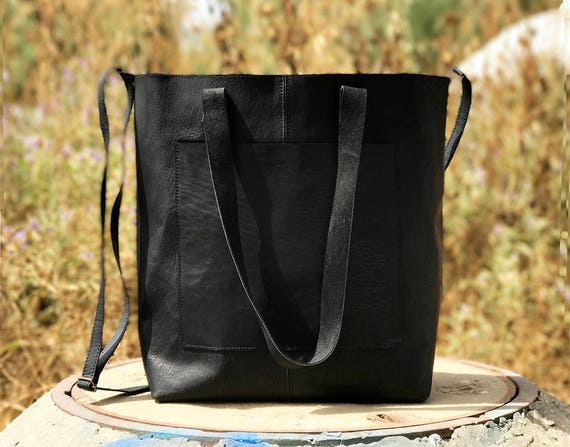 """4//8/"""" BLACK LEATHER CROSSBODY TOTE MESSENGER PURSE BAG STRAP REPLACEMENT HANDMADE"""