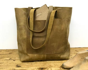 Sale!!! Brown Leather tote bag Leather bag Messenger tote bag Leather shopper tote Leather crossbody bag Large with pockets