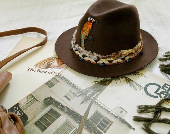 Wool hat Brown felt hat Vintage style Fedora hat Womens hat  bdd8508b042
