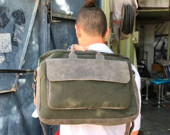 """Sale!!! Waxed Canvas Leather messenger bag """" Eugeene"""" Leather laptop bag 11""""- 13""""-15"""" Leather Mens Messenger Bags Canvas Briefcase"""
