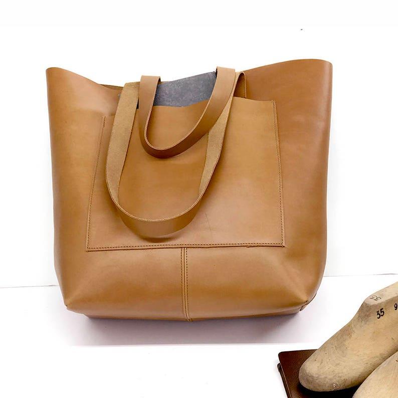 Black leather bag Tote bag Sturdy leather tote bag Large tote  Front Pocket Leather messenger Tote bag shopper tote Crossbody option