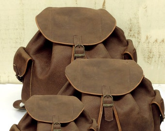 Sale! Small Brown Leather backpack Leather rucksack Leather bag Womens backpack handmade Mens backpack Travl backpack Select backpack's size