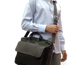 Sale!!! Waxed canvas & Leather Briefcase / Messenger / Laptop / mens leather messenger bag, Men's Bag leather leather bag leather laptop bag