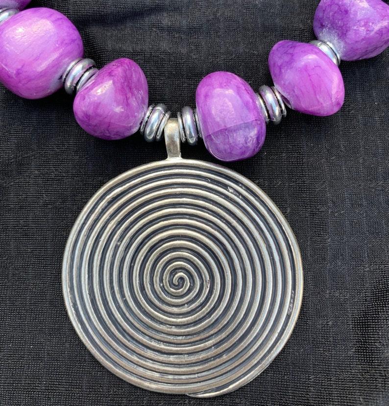 Purple Gemstone Necklace Purple Chunky Necklace Purple Statement Necklace Purple Beaded Necklace