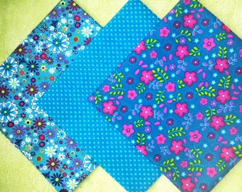 Set of 3 patterned cotton fabric coupon