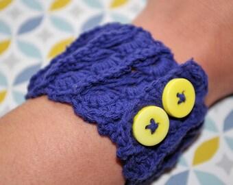 Bracelet crocheted cotton cable