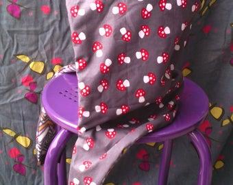 Hood mushrooms reversible fleece scarf