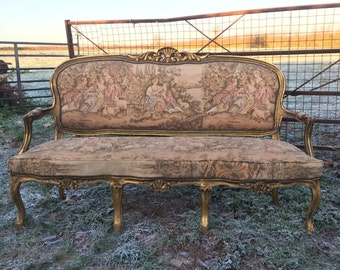 Upholstery Project! Lovely Louis XV Rococo Style Upholstered Gilded Carved Settee Handmade