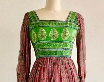 Vintage dress 70s India Dress House of Arts for Cotton Gauze Boho Maxi Dress Hand Blocked India block printed