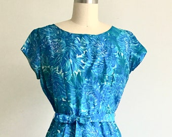 Vintage 1950's handmade silk dress blue silk dress vintage dress handmade dress 50's dress retro dress blue dress Med Wiggle Dress