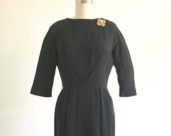 Vintage Dress, Black Wool Dress, Bombshell dress, Party Dress, 1955 Dress, Wiggle dress, Ira Rentner
