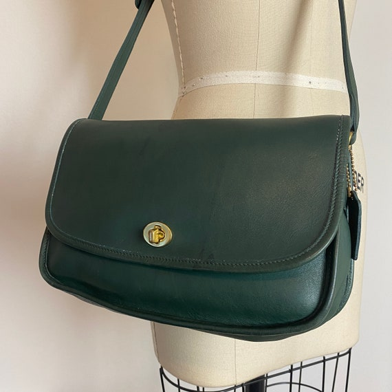 1980s Coach City Bag Hunter Green Leather Classic… - image 5
