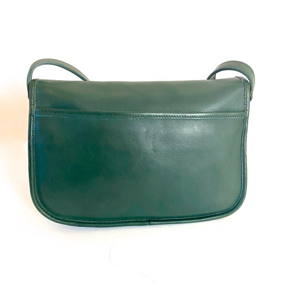 1980s Coach City Bag Hunter Green Leather Classic… - image 3