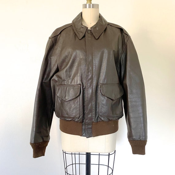Cooper A-2 bomber Vintage 60s brown leather aviato