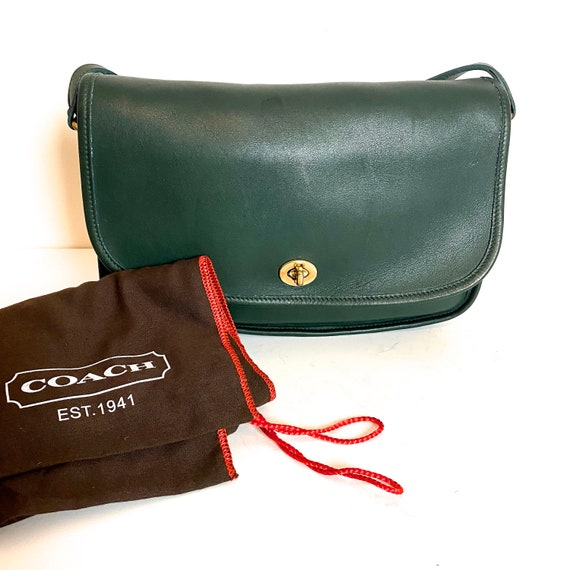 1980s Coach City Bag Hunter Green Leather Classic… - image 1