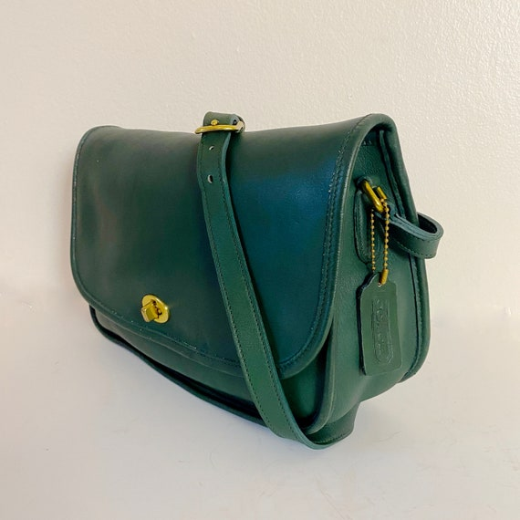 1980s Coach City Bag Hunter Green Leather Classic… - image 6