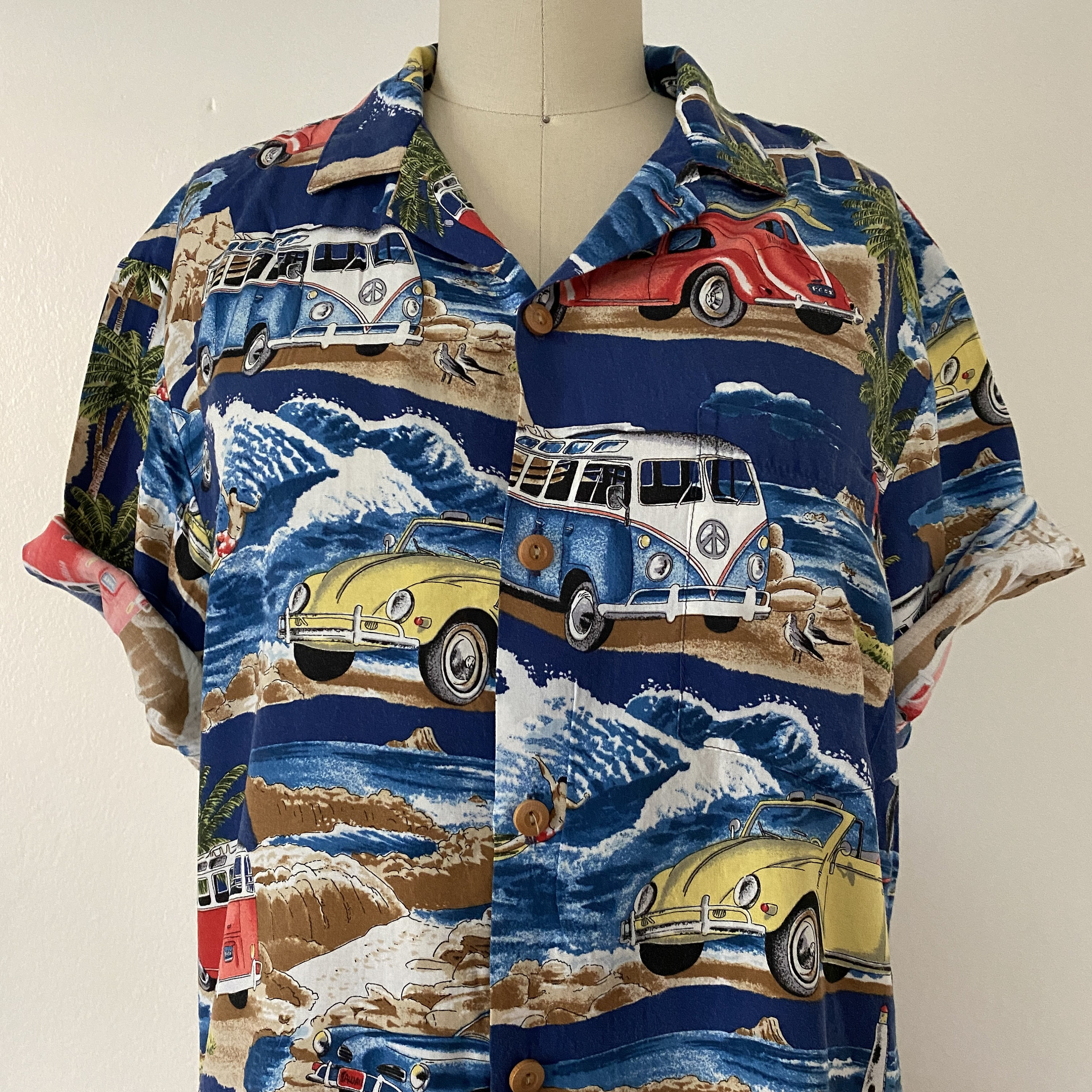 1970s Men's Shirt Styles – Vintage 70s Shirts for Guys 1970s Microbus Vw Vintage Hawaiian Shirt Rayon Button Front Short Sleeve Camp Beach Down Laua Tiki Party $34.20 AT vintagedancer.com