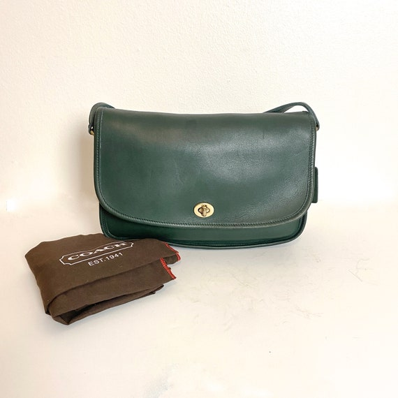 1980s Coach City Bag Hunter Green Leather Classic… - image 2