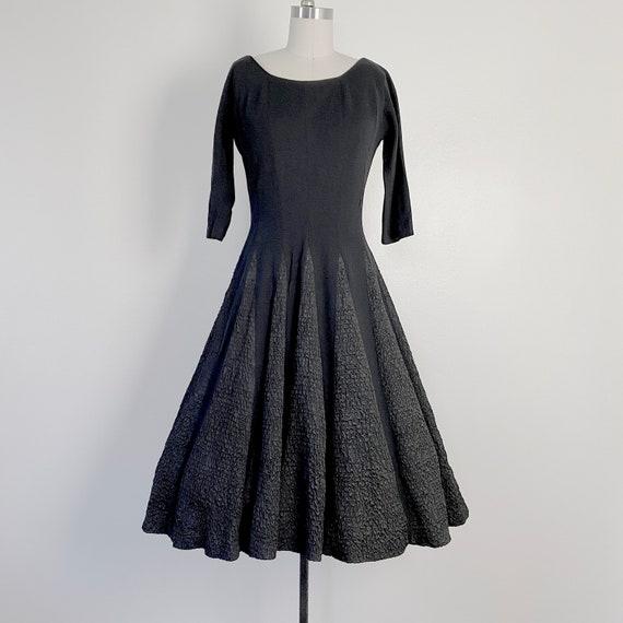 1950s Dress Black Wool Dress SKATING style dress V
