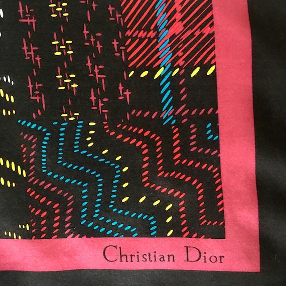 Vintage Christian Dior Silk Scarf Large Silk 1970s