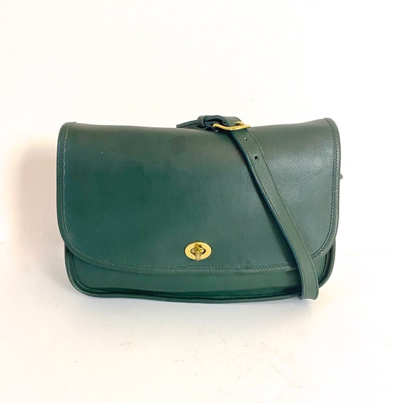 1980s Coach City Bag Hunter Green Leather Classic… - image 7