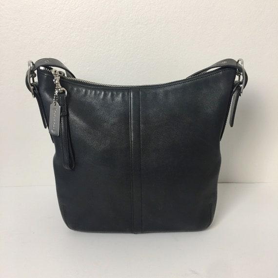 COACH Black Leather Slim Hobo Vintage Bucket Bag C