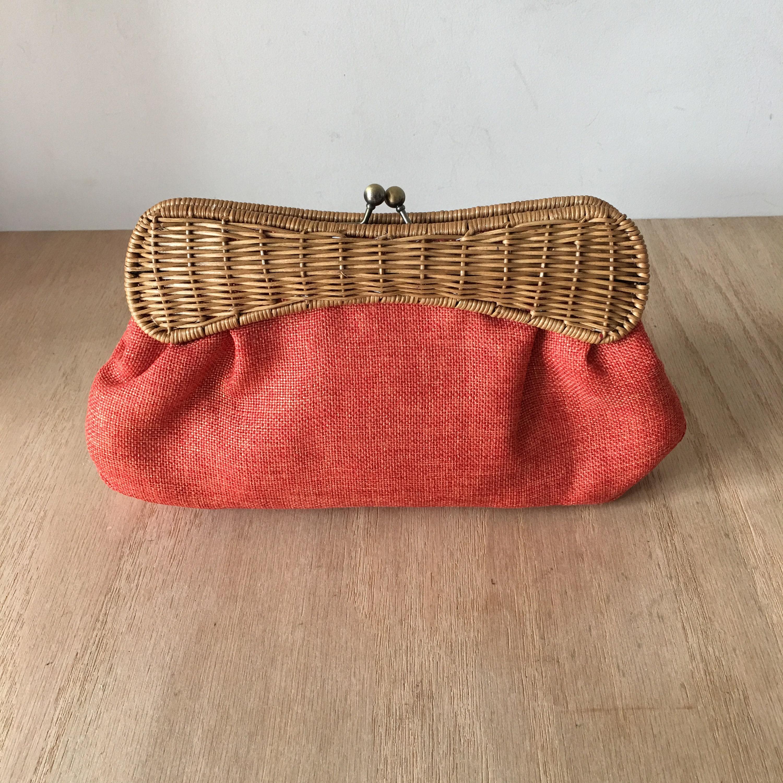 Vintage Tiannl Bag Wicker and Linen Clutch Shoulder Bag  9414a8c5cc700