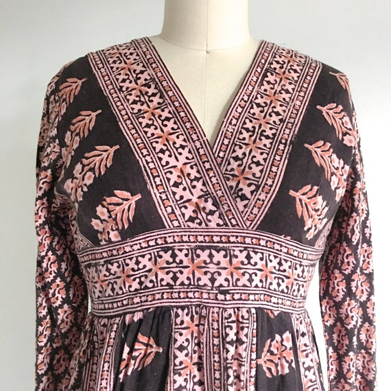 70s Indian Dress Cotton Paisley Vintage Gauze Boho