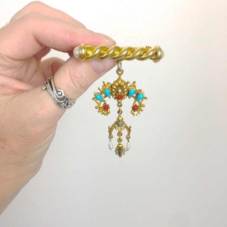 Articulated Vintage Dangle Bar Pin Jeweled Brooch 1980s does 1880/'s Gift